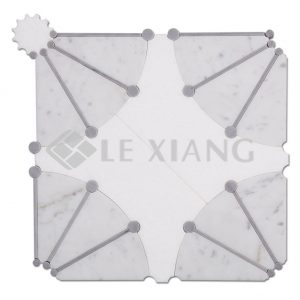Dandelion WaterJet Cut Marble Mosaic Tiles Kitchen Backsplash-1