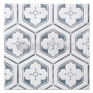 Flora Marble Water Jet Cut Stone Mosaic Tile For Bathroom Wall-1