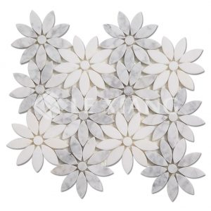 Flower Bathroom Floors Marble Mosaic Tile-1