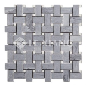 Gray Marble Basketweave Mosaic Tile Kitchen Backsplash Gray-1