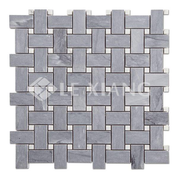 Gray Marble Basketweave Mosaic Tile Kitchen Backsplash Gray-1