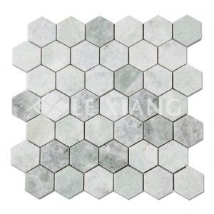 Green Hexagon Marble Mosaic Tile Bathroom Floors-1