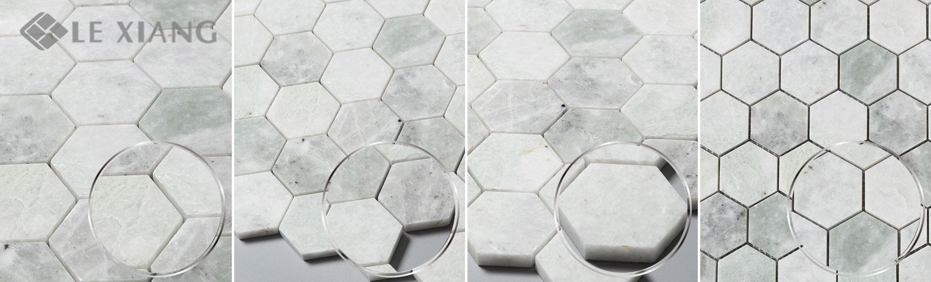 Green Hexagon Marble Mosaic Tile Bathroom Floors Lx M 074