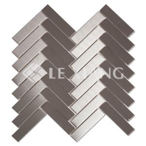 Herringbone Stainless Steel Mosaic Tiles Kitchen Backsplash-1