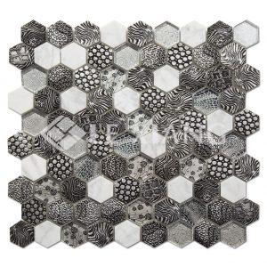Hexagon Blends Mosaics Kitchen Backsplash Tile-1