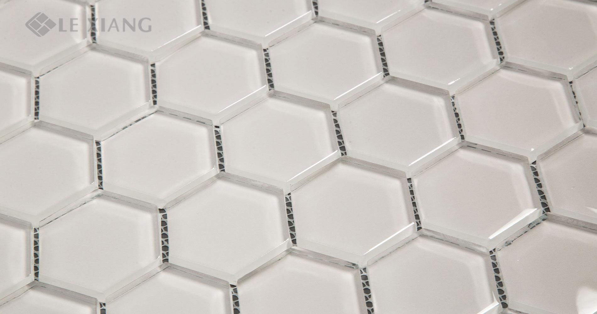 Hexagon Crystal Glass Mosaic Tiles For Bathroom Wall LX-M-080