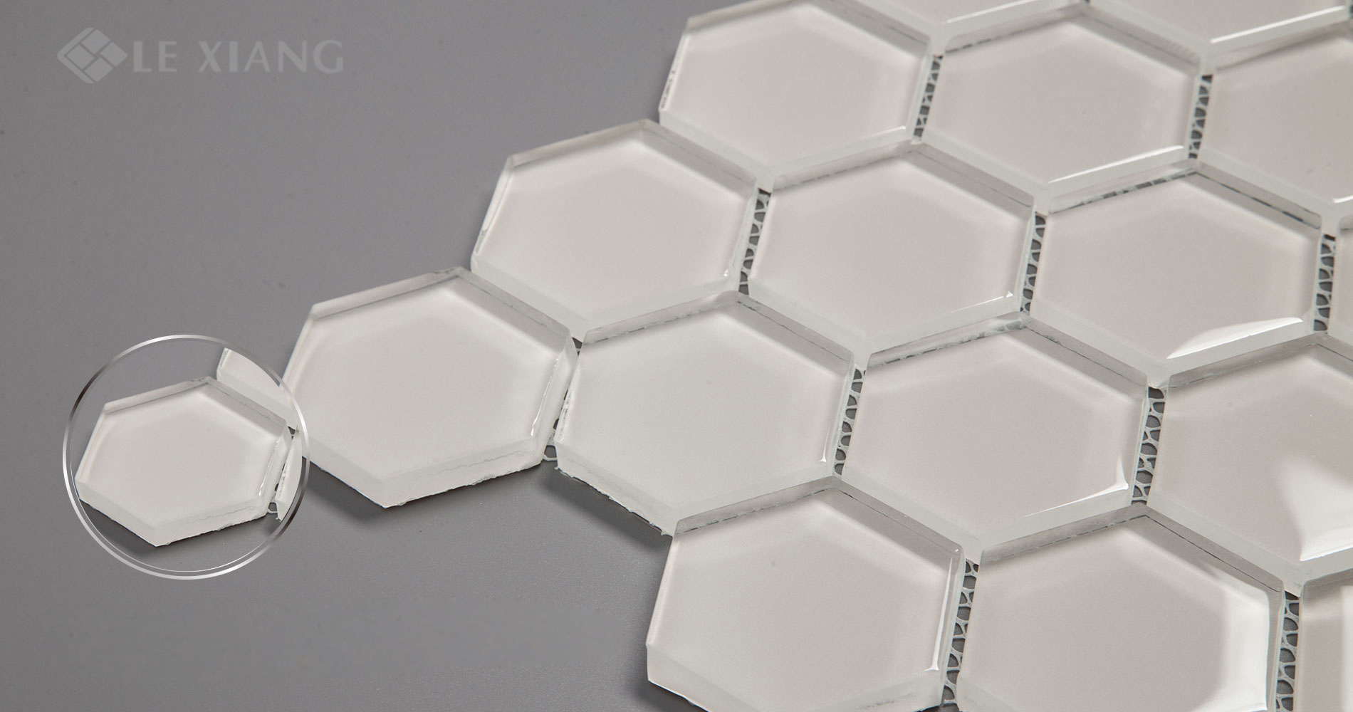 Hexagon Crystal Glass Mosaic Tiles For Bathroom Wall LX-M-080
