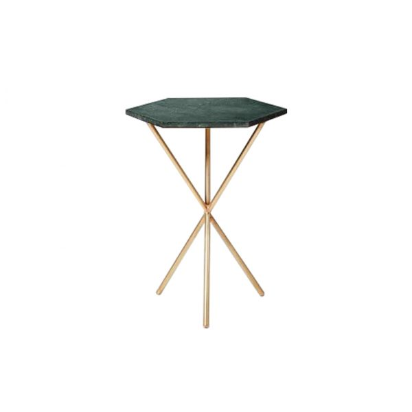 Hexagon Green Marble Tops Side Table-5