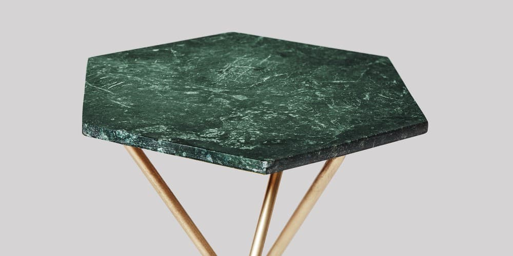 Hexagon Green Marble Tops Side Table - Hexagon marble coffee table