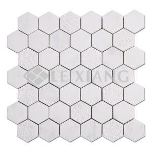 Hexagon Marble Mosaic Tiles Bathroom Flooring-1