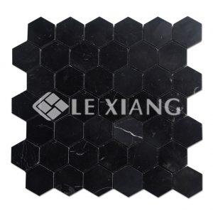Hexagon Nero Marble Marquina Stone Mosaic Tile Bathroom Floors-1