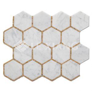 Hexagon Pattern Stone Mosaic Tile Bathroom Floors-1