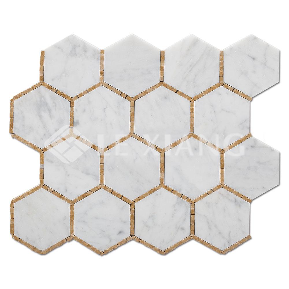 Hexagon Pattern Stone Mosaic Tile Bathroom Floors Lx M 084