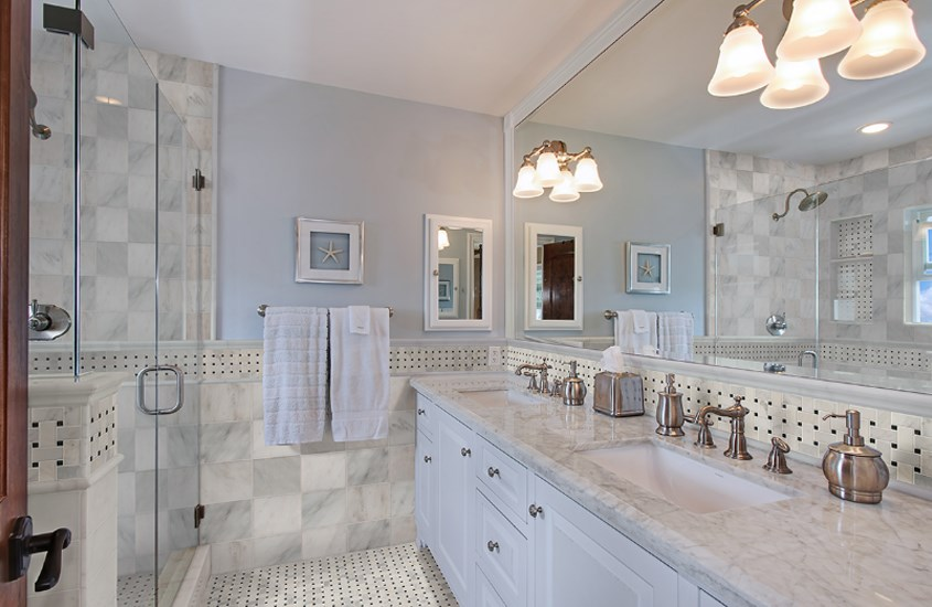 Italian Carrara White Marble Polished Bathroom Flooring 10