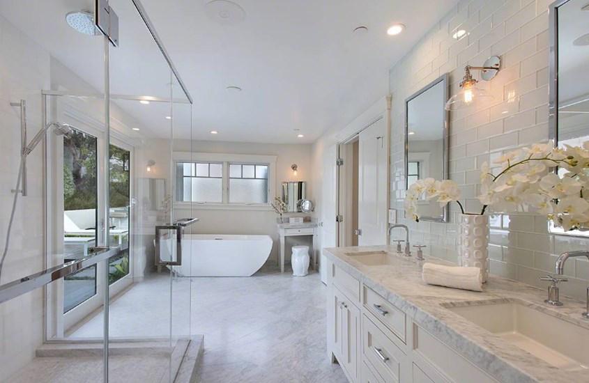 Italian Carrara White Marble Polished Bathroom Flooring 5