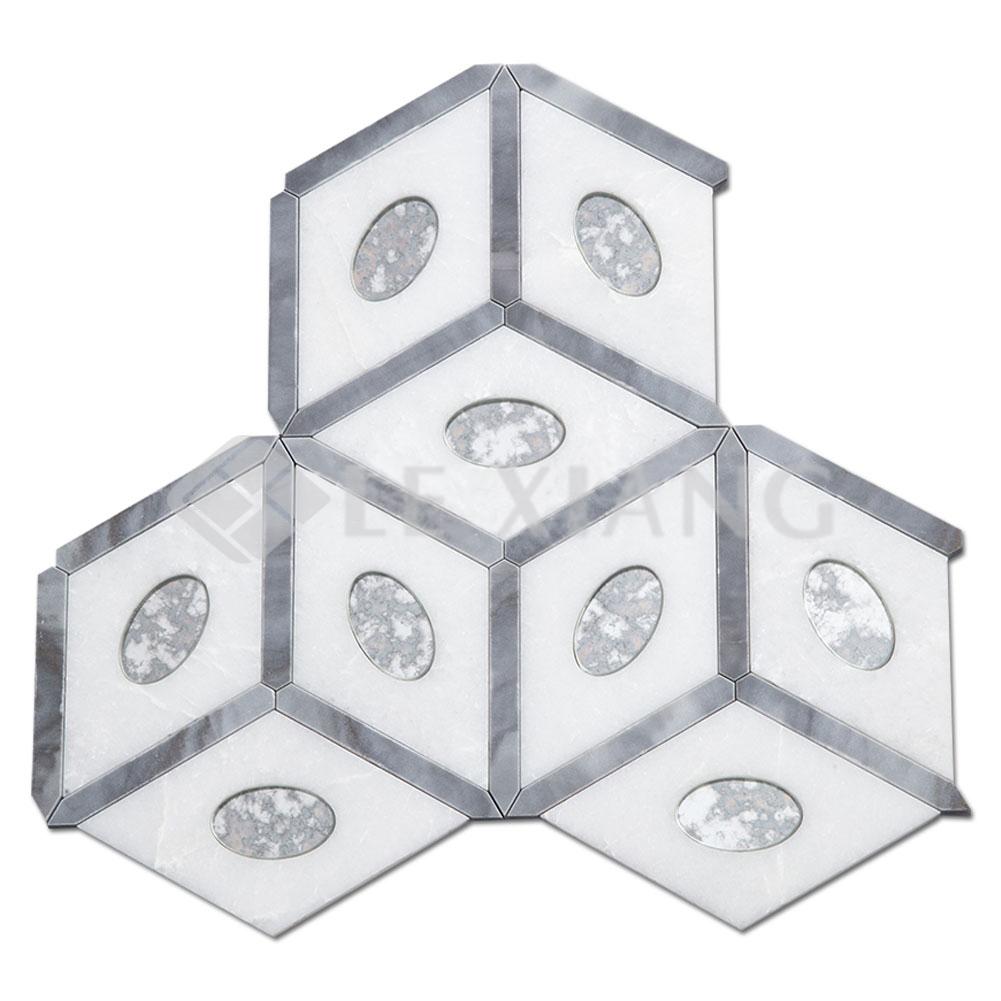 - Las Vegas Kitchen Backsplash Water Jet Cut Marble Mosaic Tile LX-M-092