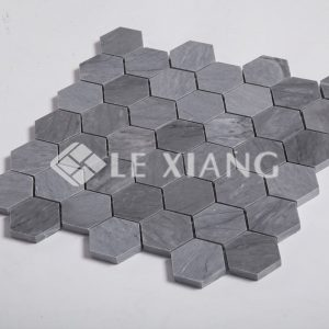 Latin Gray Hexagon Pattern Stone Mosaic Tile For Kitchen Backsplash-1