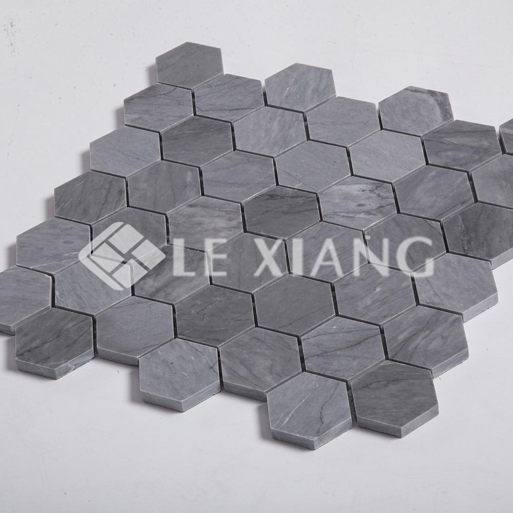Latin Gray Hexagon Pattern Stone Mosaic Tile For Kitchen