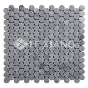 Latin Gray Penny Round Marble Mosaic Tile For Bathroom Floors-1