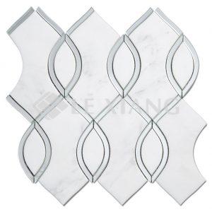 Life Story Marble WaterJet Cut Stone Mosaic Tile Bathroom Floors-1