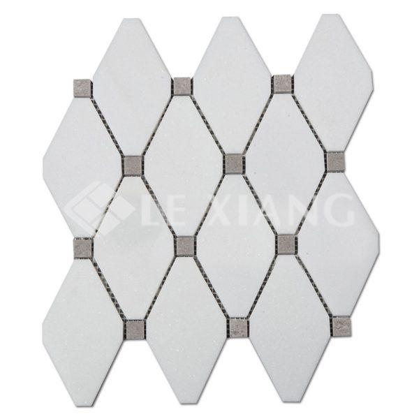 Long Octagon White Thassos Marble Mosaic Tile Kitchen Backsplash-1