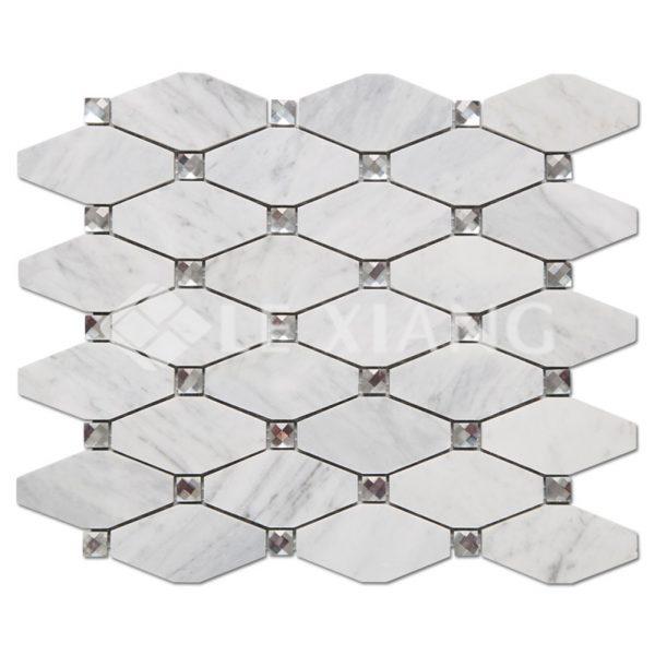 Marble Long Octagon Mosaic Tile Kitchen Backsplash-1