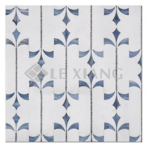 Marble WaterJet Cut Stone Mosaic Tile Crown For Bathroom Wall-1