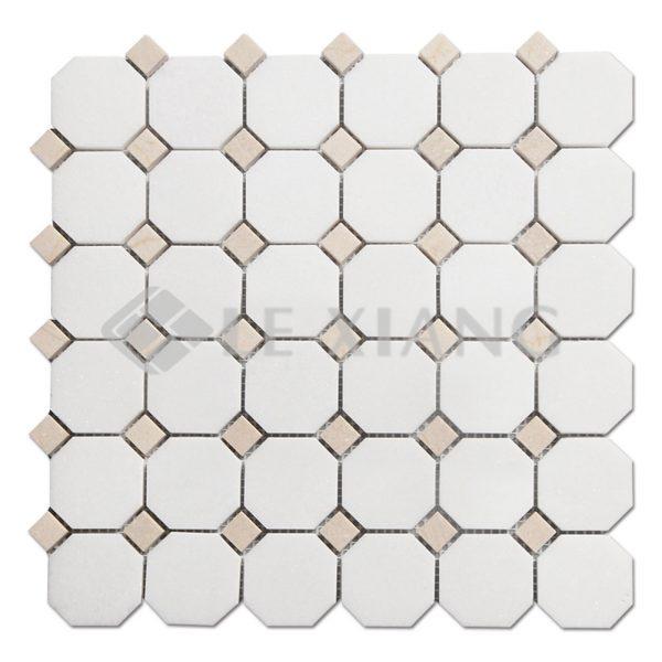 Marble White Thassos Octagon Mosaic Tile For Kitchen Backsplash-1