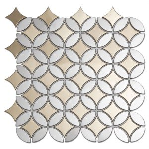 Mumflower Stainless Steel Marble WaterJet Cut Mosaic Tile Bothroom Floors-1