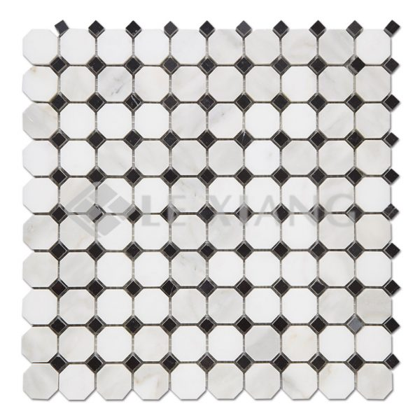 Octagon Calacatta Gold Marble Stone Mosaic Tile-1