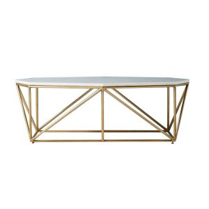 Octagon White Marble Top Coffee Table-2