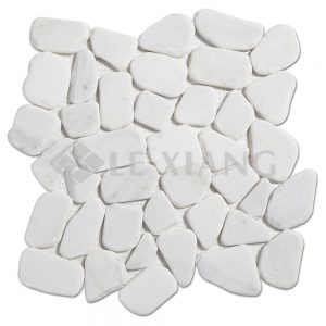 Oriental White Pebble Marble Mosaic Tile For Kitchen Backsplash-1