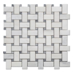 Oriental White Stone Basketweave Mosaic Tile For Kitchen Backsplash-1