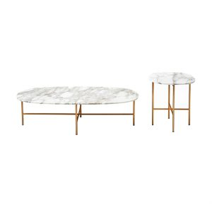 Oval Marble Coffee Table Set For Living Room-2
