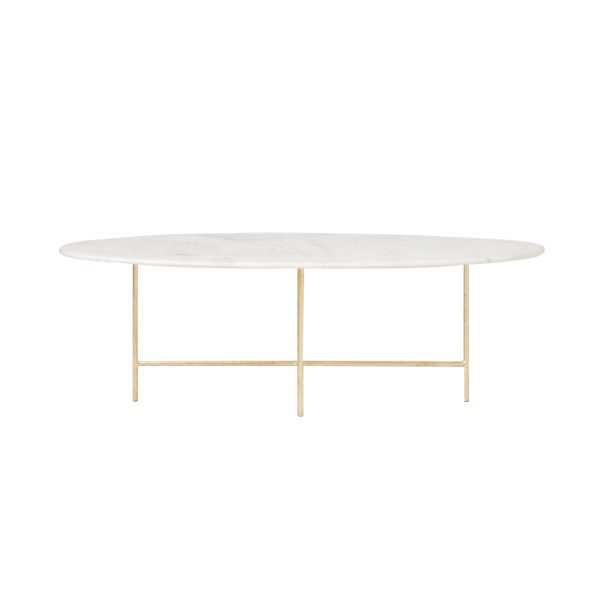 Oval Marble Coffee Table With Gold Legs-1