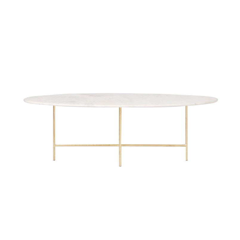 Oval Coffee Table With Metal Legs: Oval Marble Coffee Table With Gold Legs