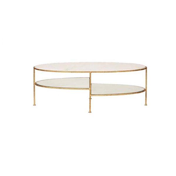 Oval Marble Top Coffee Table With Glass-1