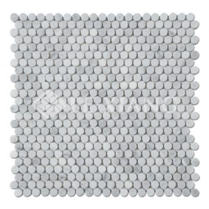Penny Round Marble Mosaic Tile Bianco Carrara For Bathroom Floors-1