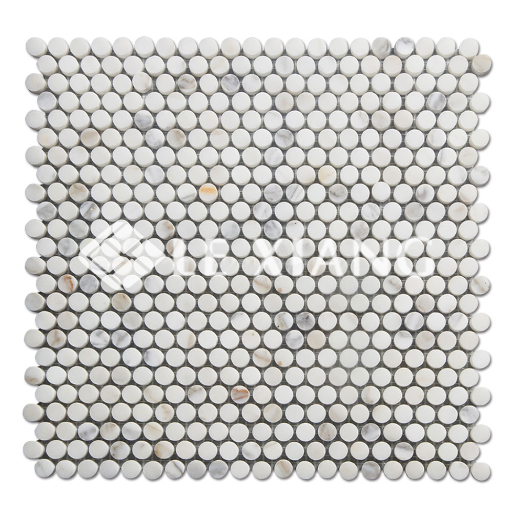 Penny Round Marble Mosaic Tile Calacatta Gold Stone For Bathroom ...
