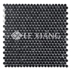 Penny Round Marble Mosaic Tile Nero Marquina For Bathroom Floors-1