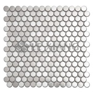 Penny Round Stainless Steel Mosaic Tile Kitchen Backsplash-1