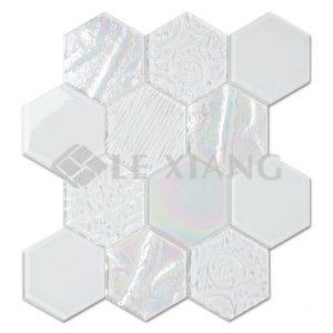 Relief Hexagon Crystal Glass Mosaic Backsplash Tile-1