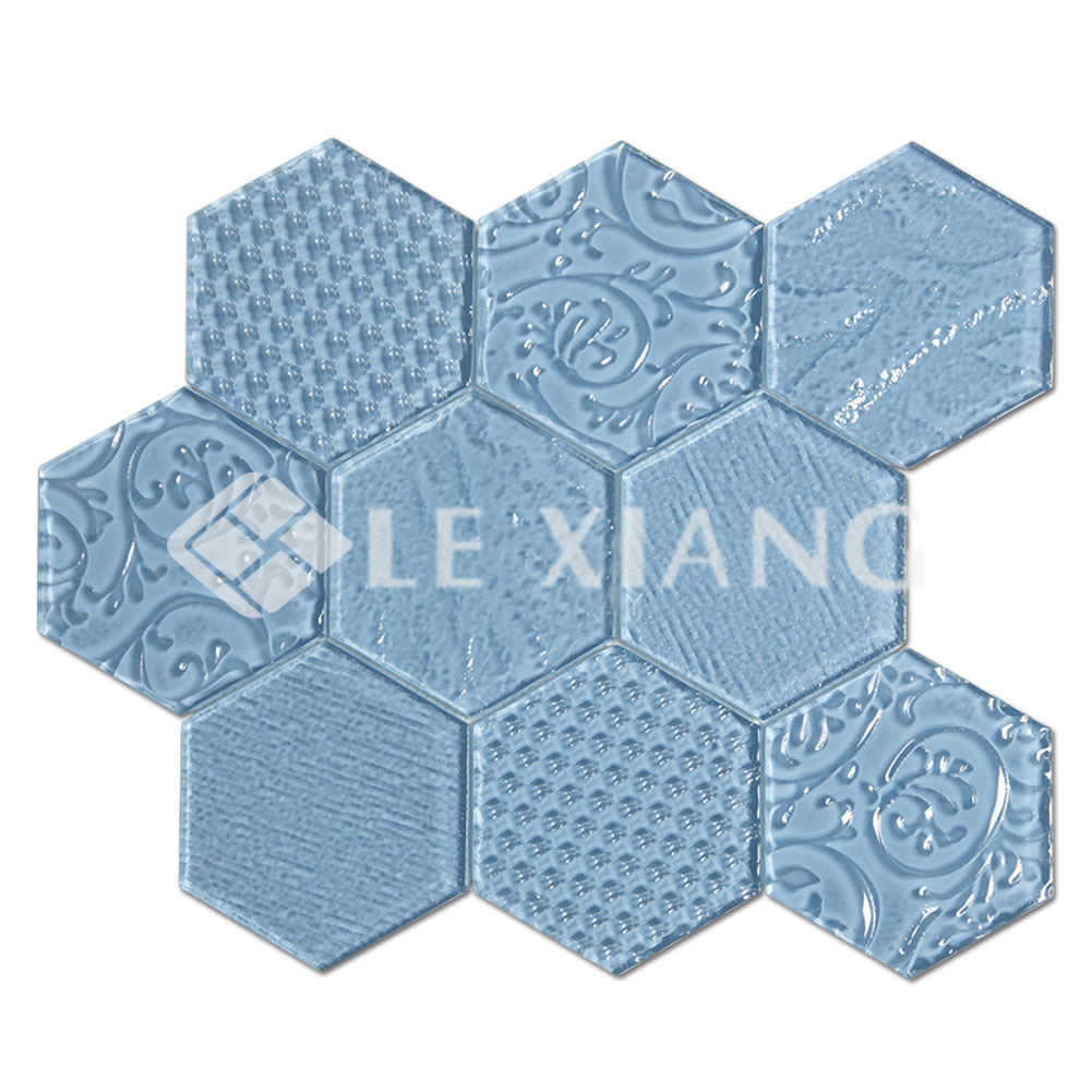 Relief Hexagon Crystal Gl Mosaic Backsplash Tile 3