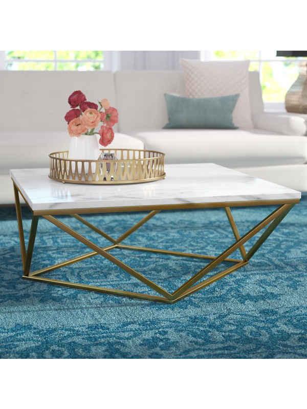 Rhombus White Coffee Table With Gold Legs Lexiang