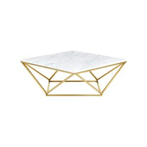 Rhombus White Coffee Table With Gold Legs-6