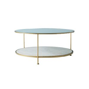 Round Marble And Glass Coffee Table-2