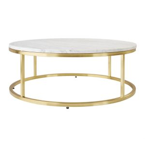 Round Marble Coffee Table In Brass Frame-6