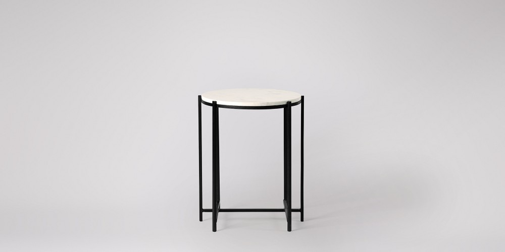 Round Marble Side Table Black Frame