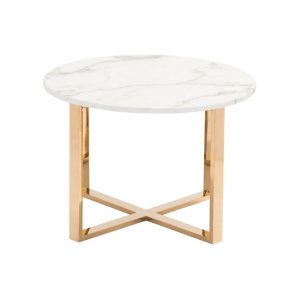 Round White Marble Side Table For Bedroom-4