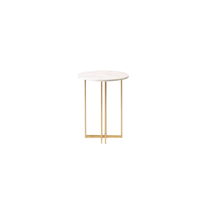 Small White Marble Top Side Table Gold Legs 1